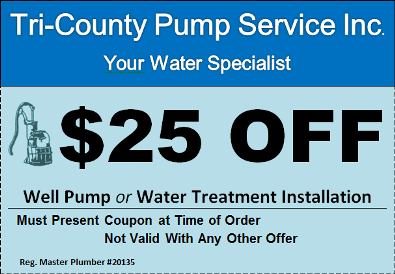 $25 off well pump or water treatment installation
