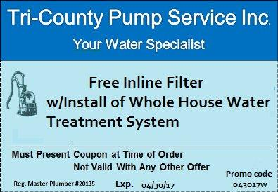 Free Inline Filter with the Install of a Whole House Water Treatment System.