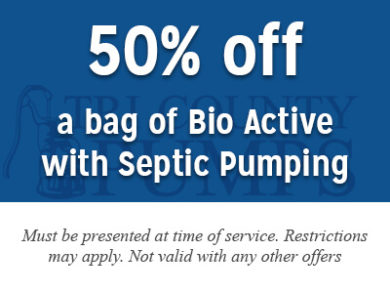 50% off a bag of Bio Active with Septic Pumping